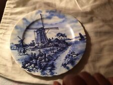 VINTAGE BLUE DELFTS BLAUW HANDPAINTED COLLECTORS PLATE FEATURES WINDMILL SCENE