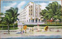 Miami Beach, FL 1940s Art Deco Linen Postcard: Beacon Hotel - Florida Fla
