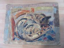 PEINTURE HUILE SUR TOILE SIGNEE S. MONTEIL CHAT CAT 1930