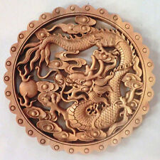ART ! CHINESE HAND CARVED DRAGON STATUE CAMPHOR WOOD PLATE WALL SCULPTURE NR