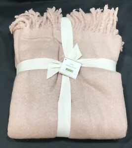 Pottery Barn Soft Rose Solid Faux Mohair Throw