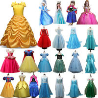 Kid's Girls Princess Belle Elsa Snow White Fancy Tull Tutu Dress Cosplay Costume
