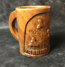 Vintage Hanalei Woods Monkeypod Wood Mug Carved Hawaiian Islands