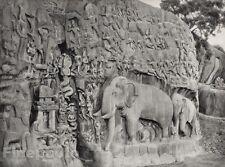 1928 Original INDIA Mahabalipuram Arjunas Penance Sculpture Photo By HURLIMANN