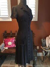BETSEY JOHNSON Vintage 40's Retro Style Sheer Black W/ Slip Dress Size P