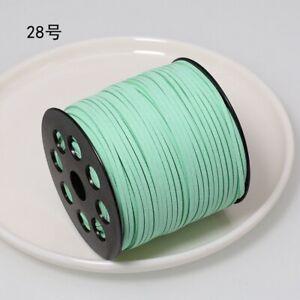 100YD Faux Leather Suede Cord Flat Strap Micro Fiber Velvet Lace Thread DIY Trim