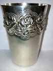 Vintage Sterling Silver Judaica Kiddush Wine Cup Flower Rose Repousse Portugal