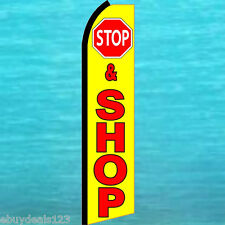 STOP and SHOP FLUTTER FEATHER FLAG Swooper Tall Vertical Advertising Sign Banner