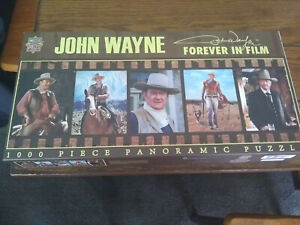 JOHN WAYNE FOREVER IN FILM 1000 PIECE PANORAMIC PUZZLE WITH SIGNATURE