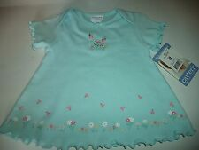Girls Size 0-3 Month 100 % Cotton Flower Short Sleeve Top With Tiny Bugs