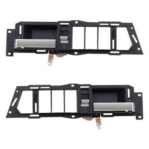 New Pair Set Inside Front Black w/ Chrome Door Handle Chevy GMC Pickup Truck SUV