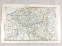 1898 Antik Map Of Belgien Luxemburg Europa 19th Century Viktorianisch Original