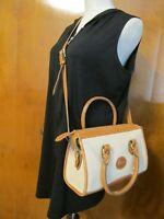 Vintage Dooney and Bourke Beige Brown Leather Shoulder Crossbody Bag Purse