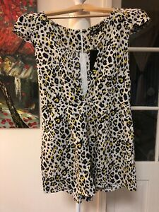 CHICA BOOTI JUMPSUIT PLAYSUIT SIZE 10. Pockets. NWT. Cream With Print Yellow Bla