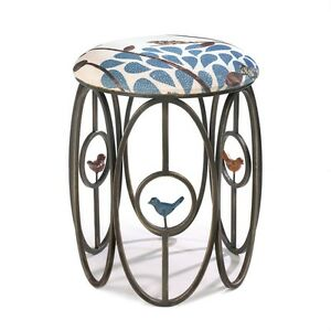 Free as a Bird Foot Stool Patio Living Room Bedroom Iron Frame Linen Cover New