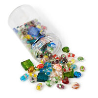 120pcs Mixed Shapes Handmade Silver Foil Lampwork Glass Beads Jewelry Making
