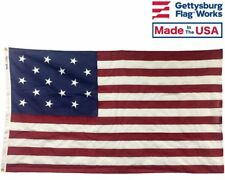 3x5' 15 Stripe 15 Star Star Spangled Banner in Cotton for Indoor Use Made in Usa