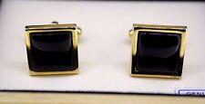 Geoffrey Beene Cufflinks Gold-Tone w/ Black Onyx Stone Display Box