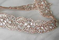 Rosado Oro Rosa Estrás Cristal Pedrería para Boda Banda Traje De Novia Cinturón