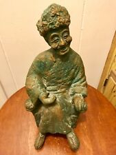 """Handcrafted Chinese Folk Sculpture Asian Olde Wise Man Happy Ancestor 10"""" 4+Lbs"""