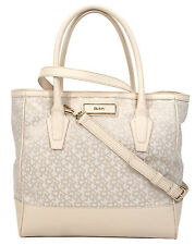NWT DKNY Donna Karan Town & Country Jacquard Ivory Saffiano Large Shopper Tote