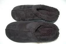 Mens BLACK SLIPPERS Faux Suede SHERPA LINED Mem Foam SLIP ON Rubber Sole M 8-9