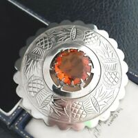 Super Vintage Large Scottish Celtic Silver Plated Topaz Glass Brooch Pin