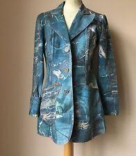 BNWT MOD ZART Blue Pop Art Steam Punk DENIM Jacket Coat - SIZE SMALL / UK 8 10