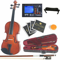 Mendini Solidwood Violin 4/4 Full Size +Tuner+Shdrest+ExtraStrings+Case~4/4MV200