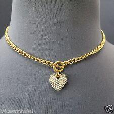 Gold Finish Chain Rhinestone Encrusted Heart Pendant Choker Necklace
