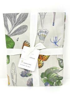"New~Pottery Barn Poppy Botanical Print Organic Shower Curtain~72"" Square"