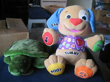 Laugh & Learn Puppy Dog Fisher Price Plush Toy & Russ Berrie Plush Sea Turtle