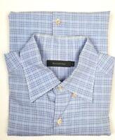 Men's Ermenegildo Zegna Camisa Dress Shirt Blue Plaid Size Large Long Sleeve