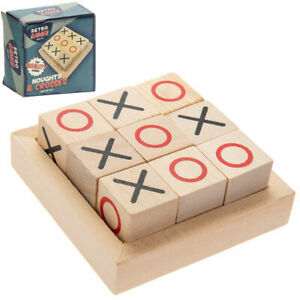 Retro Traditional Wooden Noughts and Crosses Tic Tac Toe Blocks NEW | Free Post