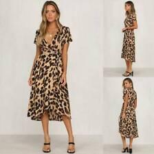 UK Womens V-Neck Wrap Leopard Print Dress Holiday Party Club Midi Long Dress