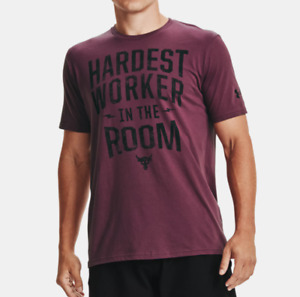Under Armour Project Rock Tee Mens HWITR Graphic Short Sleeve Level Purple Black