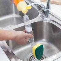 5X Kitchen Dish Washing Up Brush Sponge&Liquid Soap Dispenser TOP Q6Q2