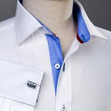 "4x Men's White Royal Oxford Formal Business Dress Shirt Size 38 Small 15"" 33/34"