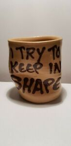 Vintage Chesterton Oxon Studio Pottery Squashed Mug   I Try To Keep In Shape