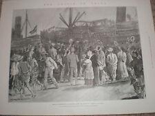 Troops disembark from troop ship Duke of Portland Shangai China 1900 old print