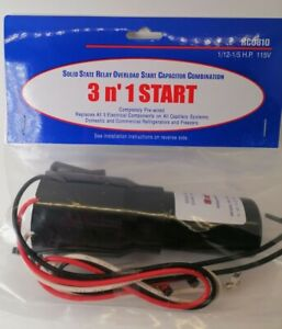 3 in1 Start Hard Start Kit Refrigerator Freezers Relay Capacitor Overload RCO810