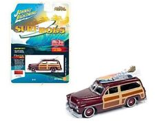 JOHNNY LIGHTNING JLCP7022 SURF RODS FREAKS 1950 MERCURY WOODY WAGON 1/64 RED