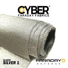 """EMF Blocking & RF RFID Shielding Silver Fabric Roll - 62"""" x 1' Elastic Material"""