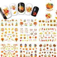 12 Patterns/Sheet Thanksgiving Nail Art Water Transfer Decal Sticker Maple Leaf