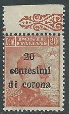 1919 TRENTO E TRIESTE EFFIGIE 20 CENT VARIETà SOPRASTAMPA MNH ** - Z2-4