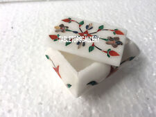 "3""x2""x2'' Marble White Jewelry Box Gem Stone Inlay Collectible Items Gifts H3531"