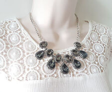 "Beautiful 18"" long silver tone & black - hematite crystal chain necklace"