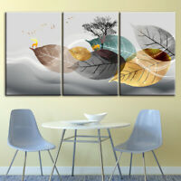 Digital Leaves Abstract 3 Pcs Canvas Printed Wall Picture Poster Home Decor