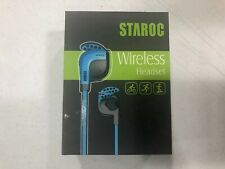 Staroc Wireless Headphones Sport Earbuds w/ Microphone Black & Blue Brand New