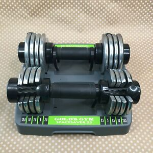 Gold's Gym Space Saver 25 Adjustable Dumbbells Weight Set 12.5 pounds each